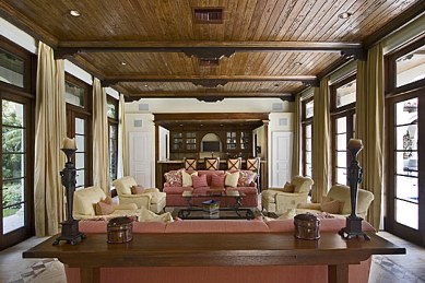 Custom Family Room with Cypress Ceiling
